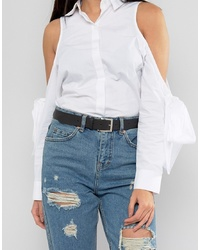 ASOS DESIGN Leather Silver Waist And Hip Jeans Belt