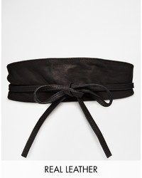 Pieces Vibs Leather Obi Waist Belt