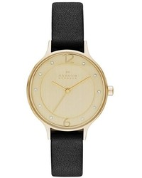 Skagen Anita Crystal Index Leather Strap Watch 30mm