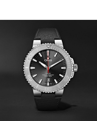 Oris Aquis Date Relief Automatic 435mm Stainless Steel And Leather Watch