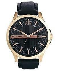 Armani Exchange Black Leather Strap Watch Ax2129