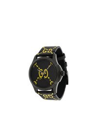 Gucci Black Yellow Ghost G Timeless Watch