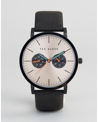 Ted Baker Brit Chronograph Leather Watch In Black