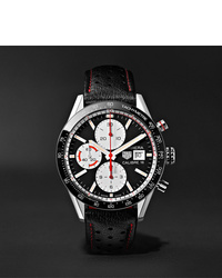 Tag Heuer Carrera Automatic Chronograph 41mm Steel And Leather Watch Ref No Cv201apfc6429