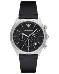 Emporio Armani Chronograph Leather Strap Watch 43mm