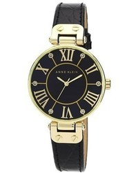 Anne Klein Croc Embossed Leather Strap Watch 34mm
