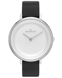 Skagen Ditte Textured Dial Leather Strap Watch 37mm