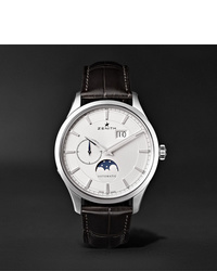 Zenith Elite Moonphase 40mm Stainless Steel And Alligator Watch Ref No 03214369101c498