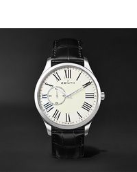 Zenith Elite Ultra Thin Roman Dial 40mm Stainless Steel And Alligator Watch Ref No 03201068111c493