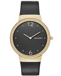 Skagen Freja Leather Strap Watch 34mm