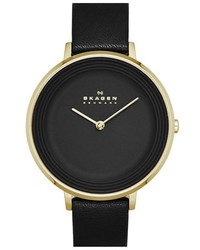 Skagen Gitte Round Slim Leather Strap Watch 38mm