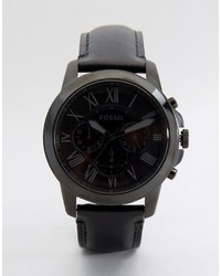 Fossil Grant Leather Watch In Black