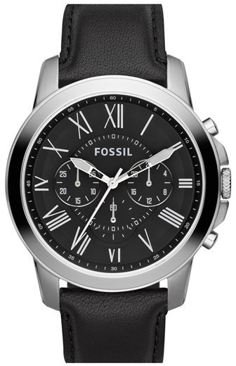 Fossil Grant Round Chronograph Leather Strap Watch 44mm