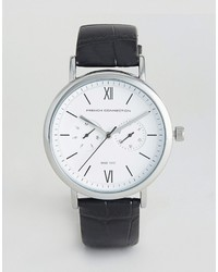 French Connection Harley Black Leather Strap Watch
