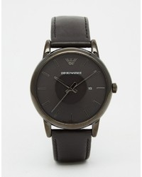 Emporio Armani Leather Watch In Black Ar1732