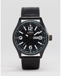 Limit Leather Watch In Black