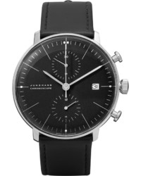 Max bill chronoscope 40mm stainless steel and leather watch medium 707313