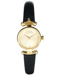 Vivienne Westwood Orb Black Leather Strap Watch Vv090gdbk