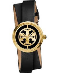 Tory Burch Reva Logo Dial Double Wrap Leather Strap Watch 28mm