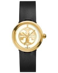 Tory Burch Reva Logo Dial Leather Strap Watch 28mm