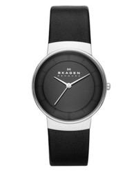 Skagen Round Leather Strap Watch 32mm Black