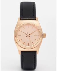 Nixon Small Time Teller Black Leather Rose Gold Watch