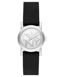 DKNY Soho Small Round Leather Strap Watch 20mm Black Silver