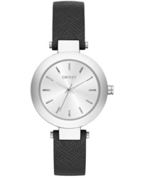 DKNY Stanhope Round Leather Strap Watch 28mm