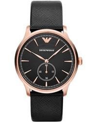 Emporio Armani Textured Leather Strap Watch 38mm