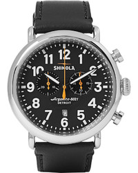 The runwell 47mm stainless steel and leather chronograph watch medium 705180