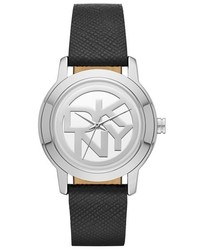 DKNY Tompkins Logo Dial Leather Strap Watch 32mm