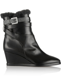 Fendi Shearling Lined Leather Wedge Ankle Boots