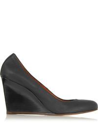 Lanvin Leather Wedge Pumps Black