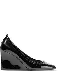 Lanvin Patent Leather Wedge Pumps Black