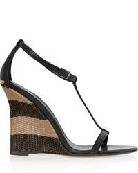 Burberry Leather And Raffia Wedge Sandals Shoes Accessories