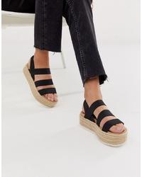 Steve Madden Sparrow Black Espadrille Flatform Sandals