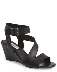 1ccf1c19cf1 Women s Black Leather Wedge Sandals by Steve Madden