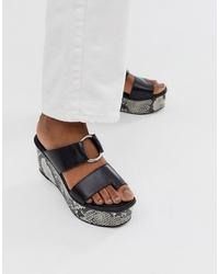 ASOS DESIGN Treasure Leather Toe Loop Sandal In Black Snake