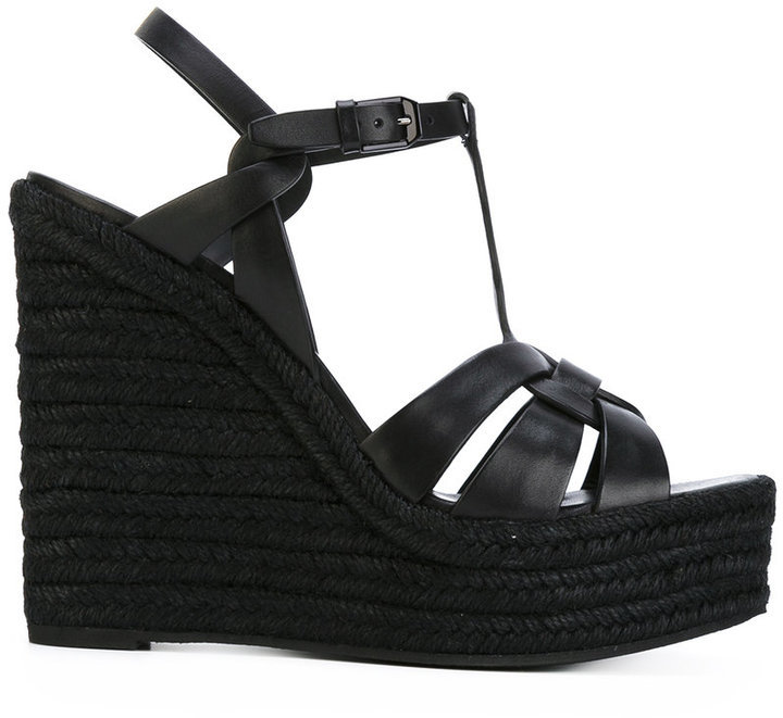 9b98857a2 Saint Laurent Tribute Espadrille Wedge Sandals, £533 | farfetch.com ...