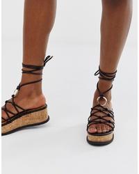 ASOS DESIGN Twine Spaghetti Tie Leg Flatforms