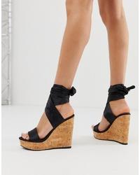 ASOS DESIGN Twist Tie Leg Cork Wedges