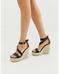 RAID Zain Black Espadrille Wedge Sandals