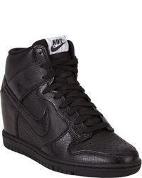 Black Leather Wedge Sneakers
