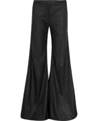 Gareth Pugh Brushed Leather Wide Leg Pants Black