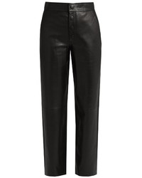 Helmut Lang High Rise Wide Leg Leather Trousers