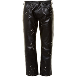 Christopher Kane Staple Embellished Straight Leg Leather Trousers
