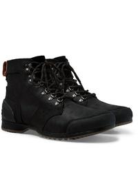 Sorel Ankeny Waterproof Rubber And Suede Trimmed Leather Boots