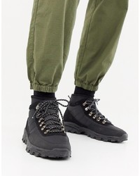 ASOS DESIGN Technical Hiker Boots In Black Textile