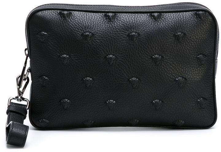 ea70e3a8296c ... Black Leather Zip Pouches Versace Medusa Embossed Clutch