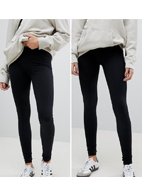 New Look Tall 2 Pack Leggings In Black